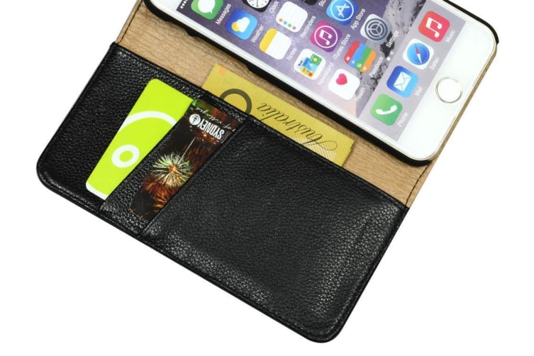For iPhone 6S 6 Wallet Case Fashion Stylish Cowhide Genuine Leather Cover Black