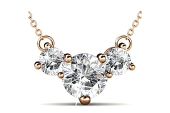 The Brilliant Trilogy Necklace w/Swarovski Crystals-Rose Gold/Clear