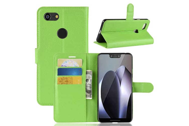 For Google Pixel 3 XL Leather Wallet Case Green Lychee Leather Cover Card Slot