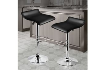 2x PU Leather Swivel Bar Stool Gas Lift Adjustable Black (ED0206)