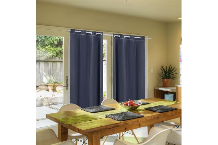 2X Blockout Curtains Panels Blackout 3 Layers Room Darkening Pure With Gauze NEW  -  Black140x230cm (WxH)
