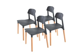 4X Belloch Stackable Dining Chair - BLACK