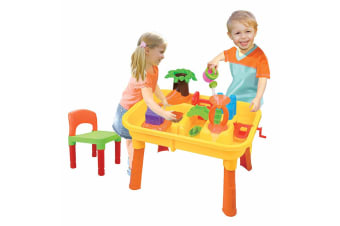 Gem Toys Kids Desk & Beach Water Table  w/ Chair/Sandpit Moulds/Scooper/Bucket