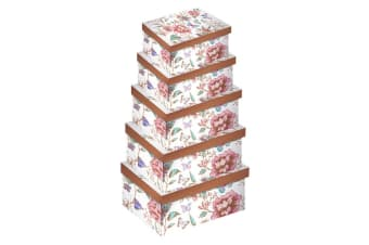 Eurowrap Floral Oblong Gift Boxes (Pack of 5) (Floral/Butterfly)