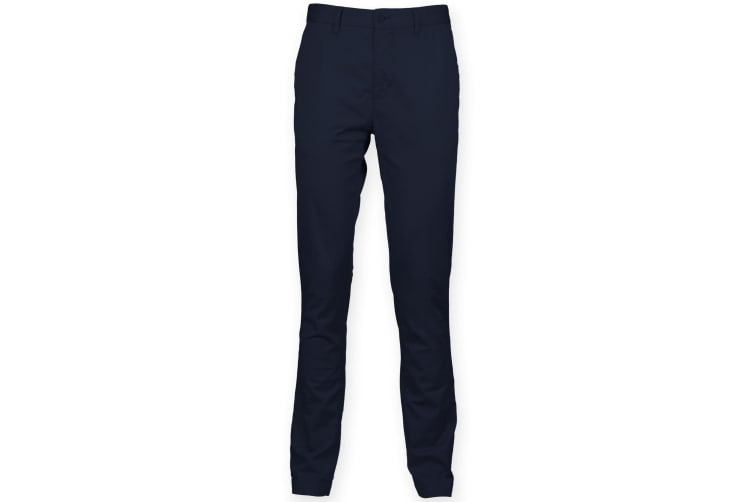 Front Row Mens Cotton Rich Stretch Chino Trousers (Navy) (36R)