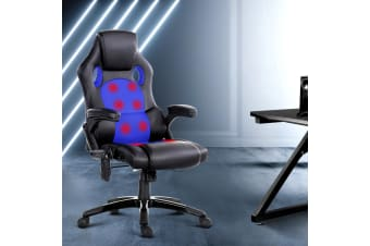 Artiss Massage Office Chair Heated Gaming Chair Computer Chairs 8 Point Recliner