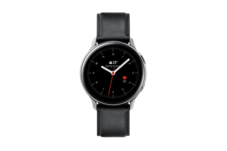 Samsung Galaxy Watch Active 2 R830 - Leather Band (Steel, 40mm, Bluetooth, Silver)