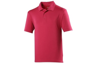 Just Cool Mens Plain Sports Polo Shirt (Hot Pink)