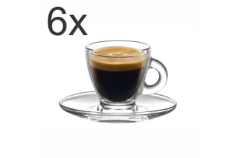 Espresso Cup and Saucer Set of 6 Aurora Serving Tea Coffee Cup 95ml