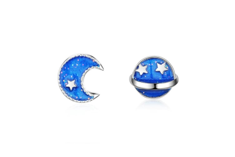 Blue Cosmos Stud earrings-White Gold
