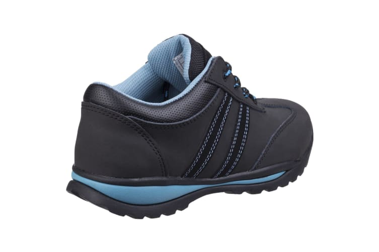 Amblers Womens/Ladies Lace Up Nubuck Leather Safety Trainer (Black/Blue) (4 UK)