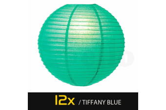"""12 Paper Lanterns for Wedding Party Festival Decoration - Mix and Match Colours  -  Tiffany Blue12""""Cool White - 3000K"""