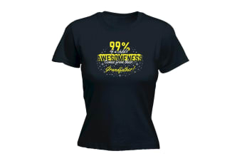 123T Funny Tee - Grandfather 99 Of Awesomeness Comes From - (Medium Black Womens T Shirt)