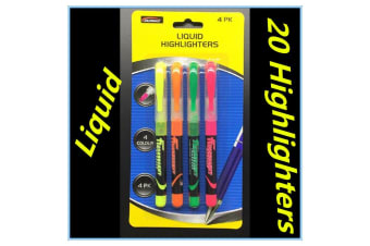 20pk Liquid Highlighters Green Orange Yellow Pink Highlighter Office School Fd