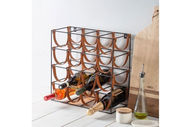 Academy Orwell 42.5cm Iron Leather 16 Bottle Red White Wine Rack Stand Holder