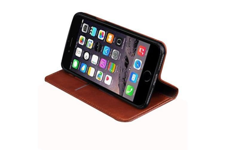 For iPhone 8 7 Wallet Case Retro Horse Texture Durable Leather Cover Coffee