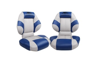 Seamanship 2 X Premium Folding Boat Seats Seat Swivel Pedestal All Weather Blue