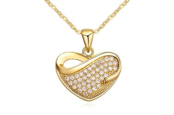 Sweet Heart Necklace-Gold/Clear