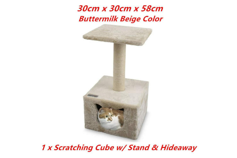 Beige Cat Scratching Tower Tree Hideaway House Post Sisal Pole Scratcher Stand