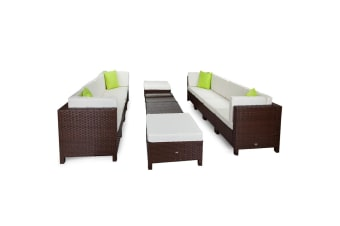 LONDON RATTAN 12pc Outdoor Lounge Furniture Setting Patio Brown Wicker Sofa Set