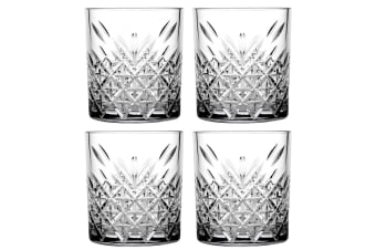 4pc Pasabahce Timeless 345ml Clear Double Old Fashioned Alcohol Whiskey Glasses