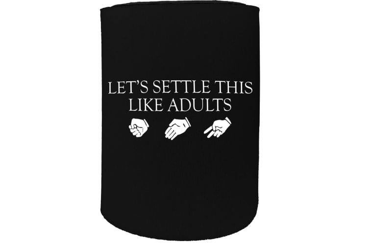 123t Stubby Holder - lets settle this adults rock funny - Funny Novelty