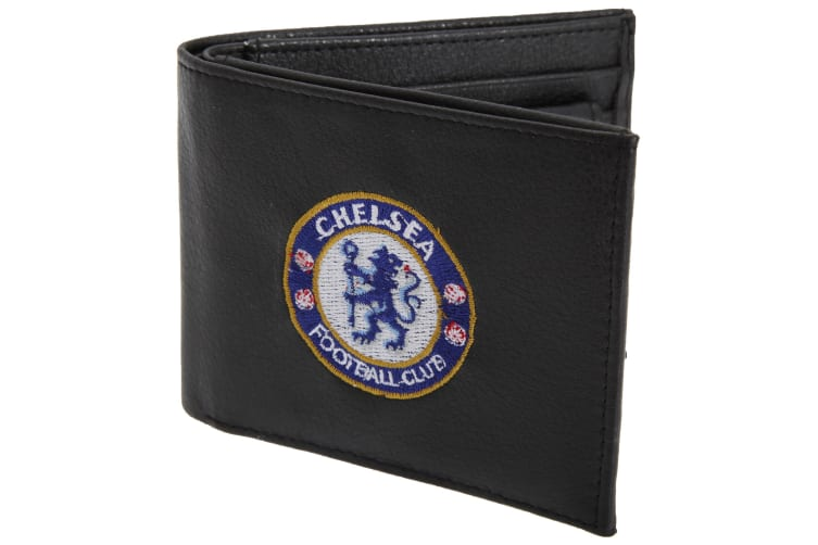 Chelsea FC Mens Official Leather Wallet With Embroidered Football Crest (Black) (One Size)