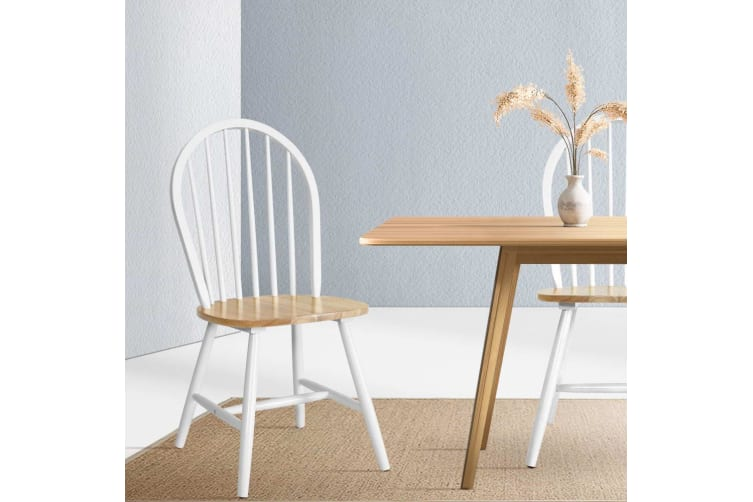 Artiss Dining Chairs Kitchen Chair Rubber Wood Retro Cafe White Wooden Seat x2