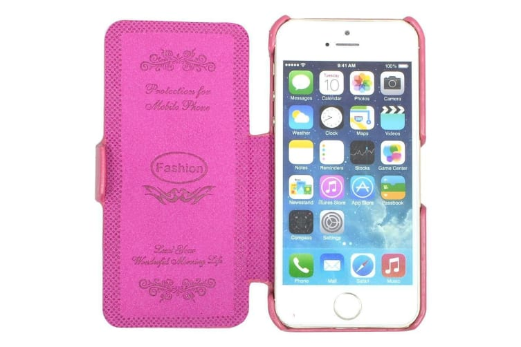 For iPhone SE 5S 5 Case Fashion Genuine Lychee Leather with Flip Cover Rose