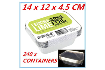 240 X Small Foil food Container Tray & Lid Roasting BBQ Takeaway Oven Trays FW