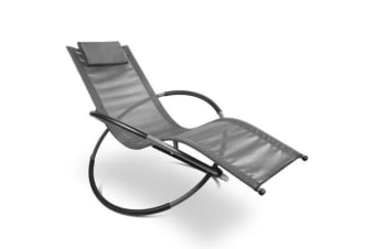 Gardeon Outdoor Zero Gravity Rocking Chair (Grey)