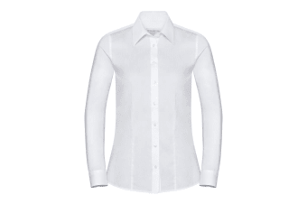 Russell Collection Womens/Ladies Long Sleeve Tailored Coolmax Shirt (White) (XXL)