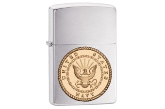 Zippo US Navy Emblem 29257 Genuine Brushed Chrome Finish Cigar Cigarette Lighter