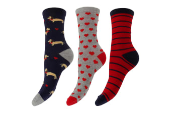 Foxbury Womens/Ladies Patterned Cotton Rich Socks (Pack Of 3) (Blue/Grey/Red)