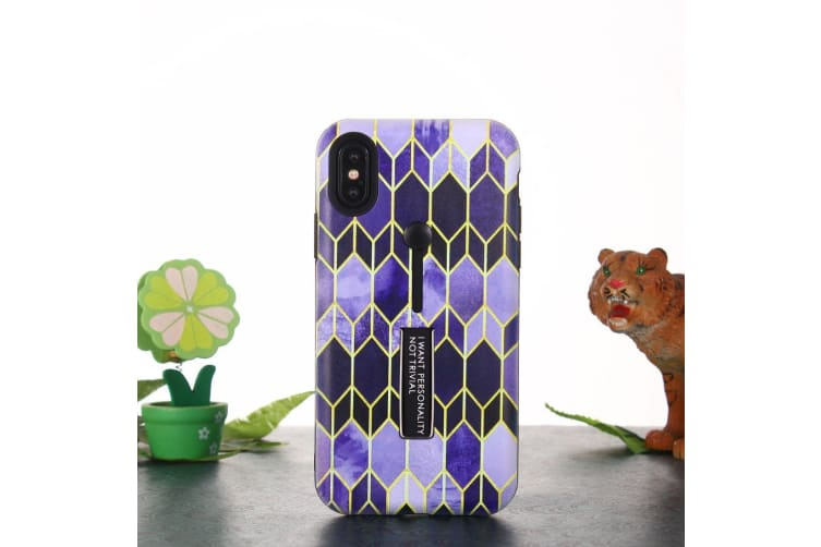 For iPhone XS Max Case Purple Embossed Rhombus Pattern TPU PC Back Cover