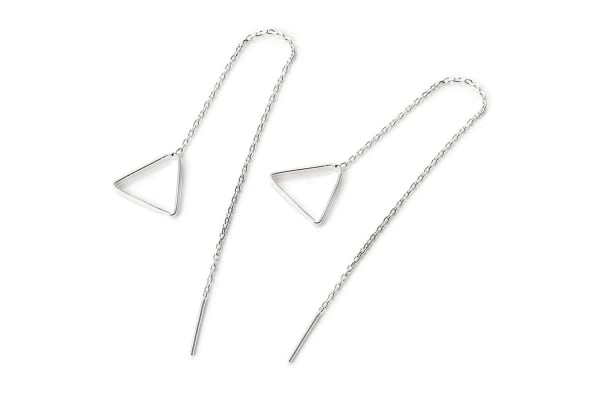 .925 Triangle Threader Earrings-Silver