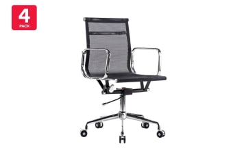 4 Pack Ergolux Executive Eames Replica Low Back Mesh Office Chair (Black)