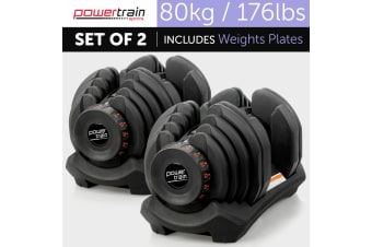 80kg Powertrain Home Gym Adjustable Dumbbell Set