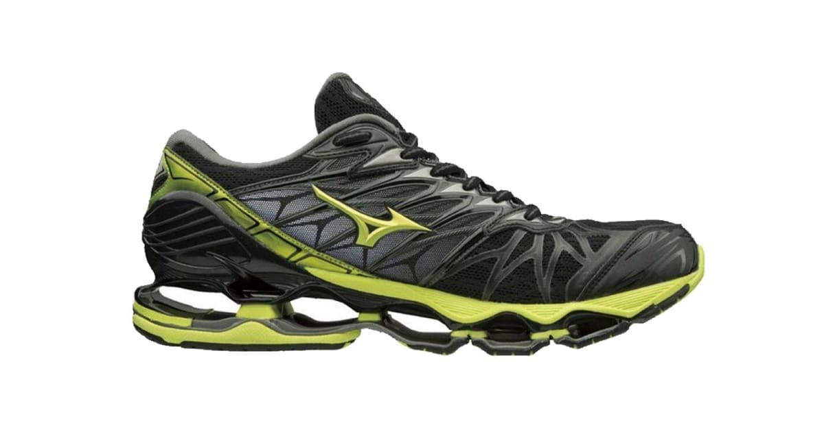 new style 0dba1 384be Mizuno Men's WAVE PROPHECY 7 Running Shoe (Black/Lime Punch/Oark Shadow,  Size 11) | Shoes
