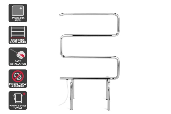 Kromo Portable Stainless Steel Heated Towel Rail (60cm Wide)