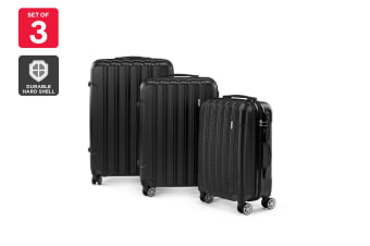 Orbis ABS 3 Piece Luggage Set (Black)