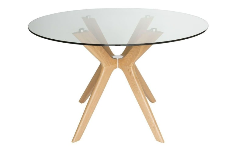 Doreen Collection | Glass Round Dining Table | Natural | 120cm