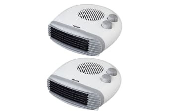 2PK Heller 2400W Electric Portable Low Profile Floor Fan Heater w/ 2 Heating Set