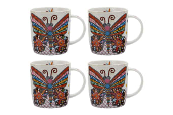 4PK Maxwell & Williams Flutter Smile Style Mug 370ml for Coffee Tea Drink