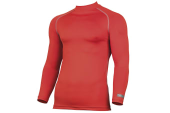 Rhino Mens Thermal Underwear Long Sleeve Base Layer Vest Top (Red)