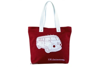 VW Collection Campervan Canvas Shopping Tote Bag (Red) (One Size)