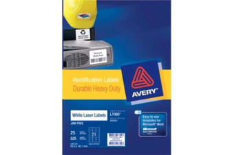 AVERY HD VINYL 63.5X38.1MM 25 SHEETS
