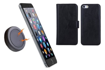 TODO Magnetic Quick Snap Car Mount Leather Credit Card Case Holder Iphone 6 - Black