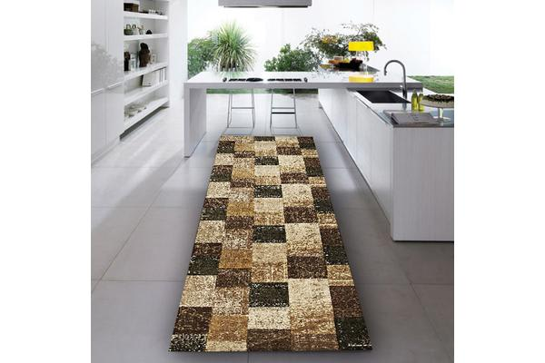 Patchwork Design Brown Rug 400x80cm