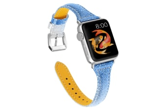 Woman Leather Gradient Color Bands ,Replacement Strap Wristband For Apple Watch Series 5/4/3/2/1 (SILVERBLUE, 42/44mm)